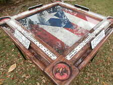 Puerto Rico Domino Table w/Nostalgic Flag & Antique Rum by Domino Tables by Art