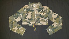 Military Army Crop Jacket with Beaded EAGLE - Olive Green with Gold Chain Tie