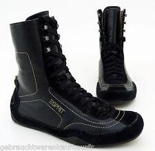 High Top Sneaker Esprit Stiefeletten flach Schnürer Echtleder schwarz Gr. 38