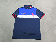 NEW Ralph Lauren RLX Polo Shirt Adult Large 2015 US Open Big Pony Blue Dri Fit