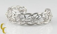Gorgeous Sterling Silver Filigree Cuff Bracelet with Diamond-Studded Flowers