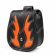 Black Fashion Motorcycle Bags Leather Side Tool Luggage For Harley Orange