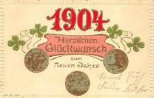 GERMANY 1904 HAPPY NEW YEAR HOLIDAY GOLD COINS WITH PATINA EMBOSSED POSTCARD