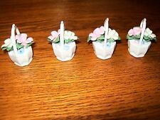 Set of 4 Miniature Ceramic White Baskets with White Colored Handle & Flowers #2