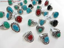 wholesale rings 15pcs women costume jewelry bulk lot wholesale turquoise rings