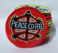 "Peace Coffee Turtle Red Emblem Applique Embroidered Iron On Patch 2.75"" Round"