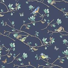 HOLDEN DÉCOR KIRA BIRD BUTTERFLY PATTERN FLORAL FLOWER MOTIF WALLPAPER ROLL NAVY