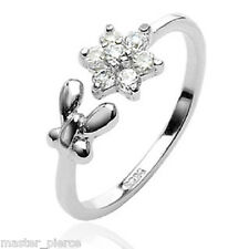 .925 Sterling Silver Butterfly & CZ Flower Toering Toe Ring Mid-Ring