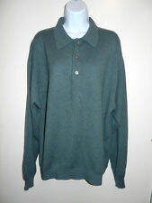 MEN'S CLUB ROOM 100% CASHMERE TEAL GREEN GRAY TINT 3 BUTTONS POLO SWEATER L