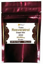 Trans Resveratrol Grape Skin Extract Polyphenols + Acai Berry Powder 120 Serving