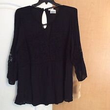 New Eyeshadow - Black With Crochet Lace Front/Sleeve Women Plus Size 2X