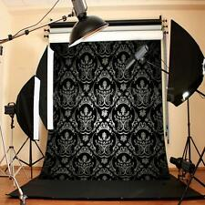 5x7FT Retro Black Damask Backdrop Studio Vinyl Photography Photo Background Prop