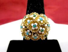 RARE ANTIQUE 18K YELLOW GOLD SPINNING FLOWER CLUSTER DOME COCKTAIL RING SZ 8.5