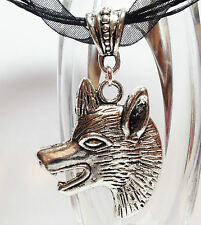 *WOLF HEAD*_Large European Pendant + Ribbon Necklace_Tribal Howl Animal Wild