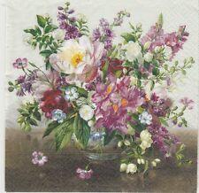 2 Serviettes en papier Fleurs Bouquet naturel - Paper Napkins Flowers