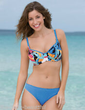 36D-FREYA-CIRCUS-BIKINI BRA+MEDIUM-UK-12-CLASSIC-PANT-SET-PATCHWORK-BLUE-MULTI