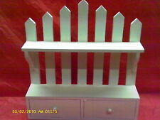 White Picket Fence Hanging Shelf with two opening doors