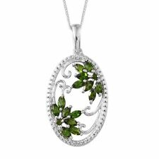"AAA Russian Diopside ""Floral Scroll"" Pendant with Chain, 925 Sterling Silver.."