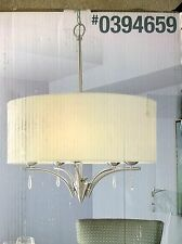 NIB Nice Large PENDANT Ceiling LIGHT w/ Glass Crystal Accents & Linen Shade