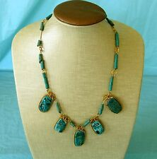 Egyptian Revival Blue Green Faience Scarab Necklace Bead Beaded Vintage Handmade