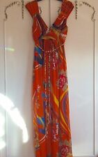Grecian Style Maxi Dress Beach Party Evening Traffic People Orange UK 12 Summer