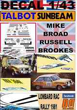 DECAL 1/43 TALBOT SUNBEAM LOTUS RUSSELL BROOKES RAC RALLY 1981 DnF (03)