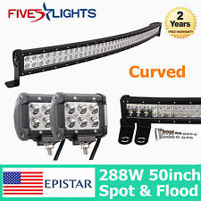 """50inch 288W Curved LED Work Light Bar COMBO Offroad Truck 18W 4"""" CREE SPOT 48/52"""