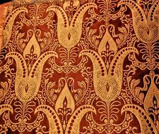 Rouille rouge/or jacquard tissé shiny pure silk brocade