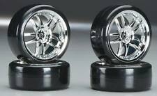 Type3 Chrome Wheels With Hard Drifting Tires 1/10th Scale 26mm (4pc) RC Drift