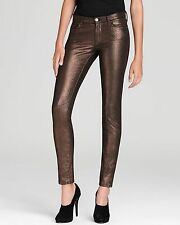 NWT 7 FOR ALL MANKIND SKINNY BROWN LIQUID METALLIC JEANS 27