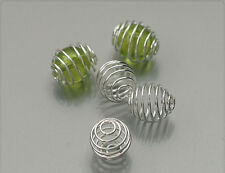10x Metall Spiralen Perlen zum *füllen* silber 10mm ms472