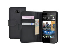 WALLET Black Leather Vertical case cover pouch for HTC Desire 601 +2 PROTECTORS