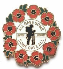 Never Forget Remembrance Poppy Commemorative Enamel Lapel Pin Badge