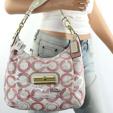 NWT Coach Kristin Sequin OP Art Signature Hobo Crossbody Bag 16791 Pink NEW RARE