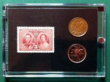 Queen Elizabeth and George Vl 1937 Commemorative Stamp Coin Set, Gift Idea