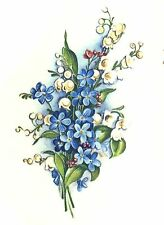 """8 Blue White Forget Me Not Flowers 2-1/8"""" Waterslide Ceramic Decals Xx"""