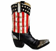 "PATRIOTIC AMERICAN FLAG COWBOY BOOT FLOWER VASE, Hand-Painted Resin, 9.75"" Tall"