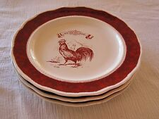 3 Country Living Good Food Good Friends French Red Rooster Scalloped Plate Dish