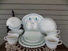 25 Pc Vintage Corelle Blue Garland Snowflake Dinnerware: Service for 4 + Extras