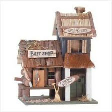 YARD GARDEN DECOR BASS LAKE LODGE BAIT SHOP FISHING WOOD BIRD HOUSE BIRDHOUSE