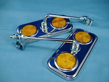 PAIR CHROME RECTANGLE MIRRORS  W/ AMBER REFLECTORS LOWRIDER  BICYCLE BIKE