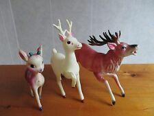 Lot of 3 Vintage Celluloid Reindeer Christmas Decoration Japan