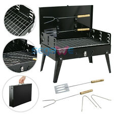 Folding BBQ Grill Charcoal Barbecue Patio Backyard Home Meat Cooker Smoker Black