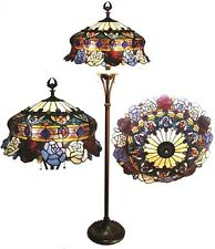 """Tiffany Style Stained Glass 3 light """"ROSES"""" Floor Lamp with 20"""" shade"""