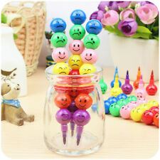 7 Colors Cute Stacker Swap Smile Face Crayons Children Students Drawing Gift New