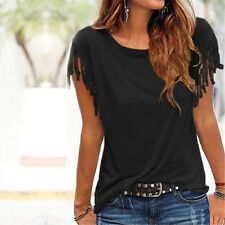 New Womens Tassels Short Sleeve Loose T-Shirts Ladies Summer Casual Tops Blouse