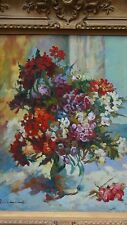 "ORIGINAL OIL ON CANVAS STILL LIFE PAINTING BUCKET OF FLOWERS SIGNED ""RICHMOND"""