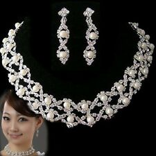 New Silver Rhinestone Crystal Pearl Necklace Earrings Jewelry Set For Wedding