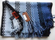 SCARF MISSONI  BLUE Black   long MADE ITALY ZIGZAG SIGNATURE NEW TAGS wool mix