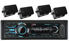 Boss Boat USB iPod iPhone SD AM FM Bluetooth Radio & 4 Marine Black Box Speakers